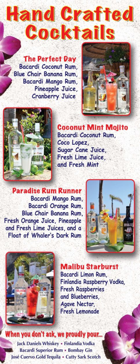 Paradise Cove Beach Cafe Kids Menu